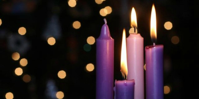 purple advent candles
